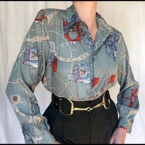 Vintage equestrian silk long sleeve top